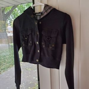 Wet Seal Black Cropped Hoodie Jacket